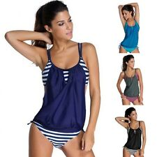 Women's Tankini Bikini Top & Bottom Set Push-up Swimsuit Bathing Suit Swimwear F