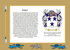 PERSONALISED PARCHMENT, FAMILY SURNAME HISTORY, CREST, COAT OF ARMS,TARTAN,