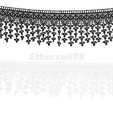 Embroidered Lace Ribbon Trimming Tassel Trim Sewing Crafts Home Decor 3yds 8cm