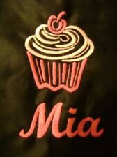 PERSONALISED CUPCAKE BLACK OR WHITE APRON EMBROIDERED WITH ANY NAME