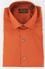 Kenneth Cole New York Mens Spice Orange Button Up Dress Shirt Top Ret $69.50 New