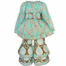 AnnLoren Girls Boutique Floral and Lattice Fall Tunic and Pants Set 2/3T - 11/12