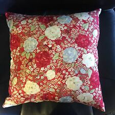 NEW 15 x 15  OR 16 X 18 RED BLUE & WHITE FLORAL PRINT COMPLETE THROW PILLOW GIFT