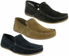 Roamers Moccasin Loafers Suede Leather Mens Slip On Flat Deck Shoes UK6-12
