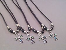 Christian Pendant Necklace ANKH PAUA SHELL CROSS Silver Tone Bead Accents GIFT!