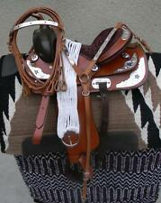 """15"""" New Tan STAR All Leather Western Pleasure Show Trail Saddle Package  See"""