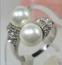 Noblest 18K GP 8mm Real White South Sea Shell Pearl Ring Size 7 8 9