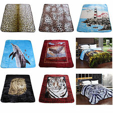 500gsm Photo Print Winters Mink Blanket Queen / King CHEETAH LEOPARD TIGER AQUA