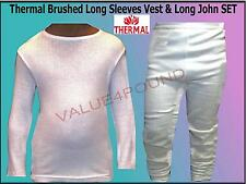 BOYS GIRLS KIDS THERMAL BRUSHED LONG SLEEVES VEST & LONG JOHNS UNDERWEAR SET