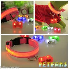 JP Hot Bone Flashing Glow Light Blinking LED Tags Collar Pendant Pet Dog Puppy