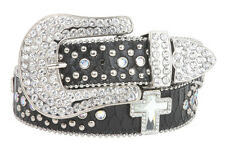 Snap On Rhinestone Cross Silver Circle Studded Snake Print Genuine Leather Belt