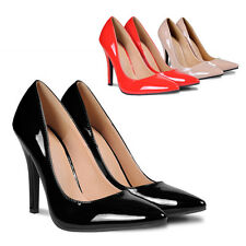 New Women's Pumps Stiletto High Heels Shoes Elegant Patent Leather 3Colour 6Size