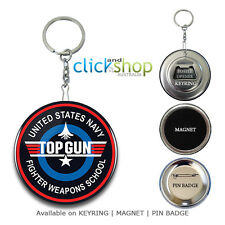TOP GUN Keychain Keyring Magnet Button Pin Badge | Key Ring Chain Bottle Opener