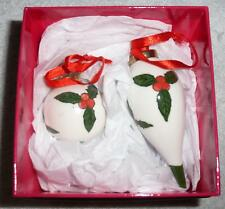 2 Vintage 1980s hand painted porcelain Christmas tree decorations boxed B53