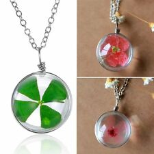 Dried Green Pink Flower Shamrock Four Leaf Clover Pendant Necklace BFF Jewelry