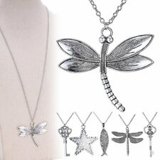 Vintage Tibet Silver Dragonfly Key Star Bird Charm Pendant Long Necklace Jewelry