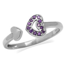 Amethyst Purple CZ White Gold Plated 925 Sterling Silver Heart Open Front Ring