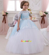 Formal Lace Baby Princess Bridesmaid Flower Girl Dress Party fluffy blue tulle