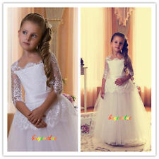 Formal Lace Baby Princess Bridesmaid Flower Girl Dresses Wedding party fluffy