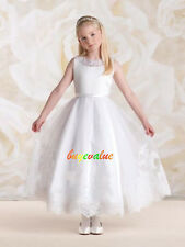 Flower Girl Princess Dress Toddler Baby Wedding Party SatinLace Holiday white