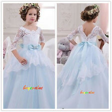 Formal Lace Baby Princess Bridesmaid Flower Girl Dress Party Spring Dress 2-14