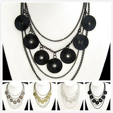 Buy 2 Get 1 Free, Antique Silver Plated Alloy Fashional Disc Necklace X1118