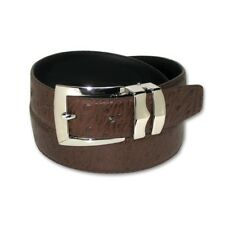 OSTRICH Pattern CHOCOLATE BROWN Bonded Leather Men's Belt Silver-Tone Buckle
