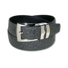 OSTRICH Pattern CHARCOAL GRAY Bonded Leather Men's Belt Silver-Tone Buckle