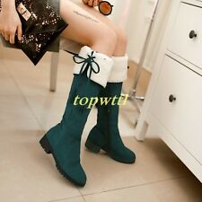 new Women's Faux Suede Over The Knee High Leg Boots Low Heel Riding Tall Boots $