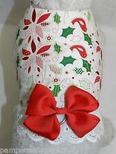 DOG CAT FERRET Travel Harness~Holiday Christmas Poinsettia Holly BOW & LACE