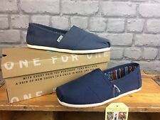 TOMS MENS CLASSIC CANVAS NAVY FLATS CASUAL SHOES BEACH SUMMER ALL SIZES