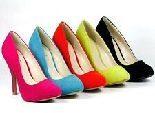 Velvet High Heel Classic Pump Pink Orange Turquoise Lime Qupid Tizzy-02