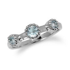 Genuine Blue Topaz White Gold Plated 925 Sterling Silver Stack/Stackable Ring