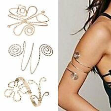Fashion Women Punk Swirl Upper Arm Cuff Armlet Armband Bangle Bracelet Gift Gold