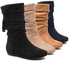 WOMENS LADIES MID CALF PULL ON LOW HEELS FLATS RIDING WINTER SLOUCH BOOTS