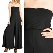 Solid Strapless Tube Ruffled Wide Leg Flare Jumpsuit Casual Cute Rayon S M L