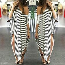 M-2XL Sexy Women Boho Striped Asymmetrical Maxi Long Dress Beach Sundress Kaftan