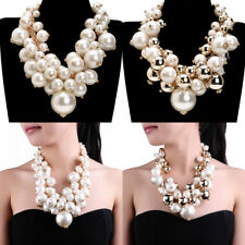 Fashion Gold Chain Resin Pearl Beads Choker Statement Pendant Bib Necklace US