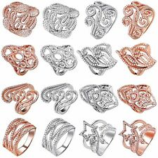Size 6-9 Fine 925 Sterling Silver Ring Rose Gold with Crystals for Woman Wedding