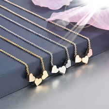Fashion three Heart Charms Pendant Clavicle chain Necklace Jewelry Lover gift