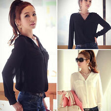 Womens Blouse Chiffon Tops Long Sleeve OL Career Button Down Shirt Top Blouse