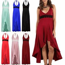 Womens Lace High Low Back Tie Knot Wrap Hi Lo Midi Dress Ladies Top Plus Size