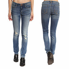 Ladies Ripped Knee Skinny Jeans Womens Low Waisted Jeggings Trouser 6 8 10 12 14