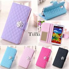 Fashion Luxury Grid Wallet Stand Flip PU Leather Cover Case for Samsung TXCL