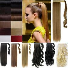 Professional Wrap Around Ponytail Real Human Thick Straight Curly Hair Extension
