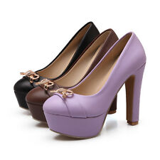 Cute Womens High Heels Shoes Antiskid Platforms Bowknot Round-toe Pumps US Size