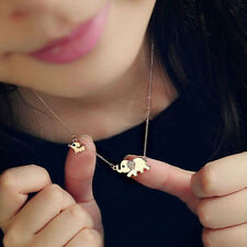 Fashion Women Girls Cute Elephant Chain Crystal Gold Silver Pendant Necklace mh
