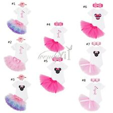 3PCS Baby Girl Headband 1st Birthday Outfit Party Romper Skirt Dress Set Clothes