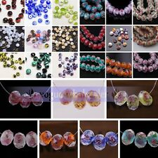 10/20pcs 10mm 12mm Rondelle Faceted Lampwork Glass Loose Spacer Beads Finding