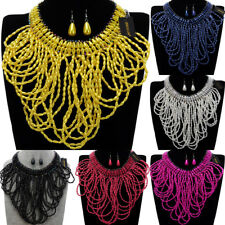 Fashion Jewelry Chain Resin Pearl Crystal Choker Statement Pendant Bib Necklace